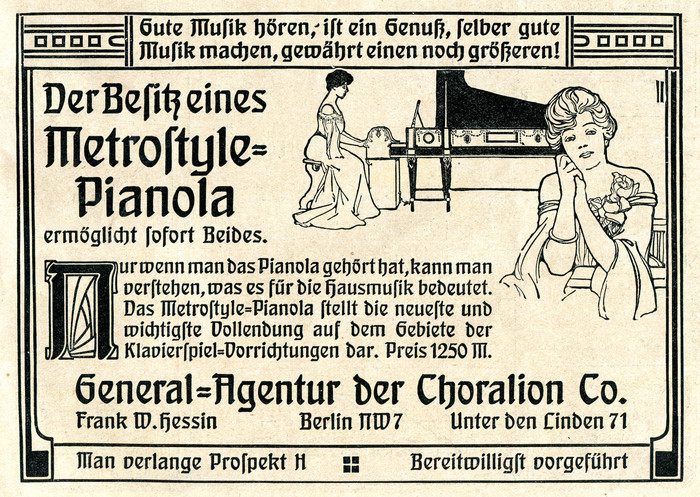 Metrostyle-Pianola ad