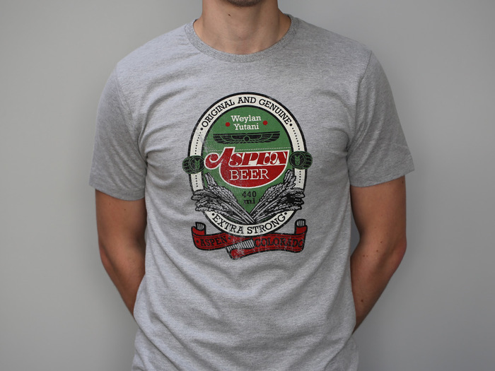 """Replica label t-shirt, with""""BEER"""" set in Courier."""