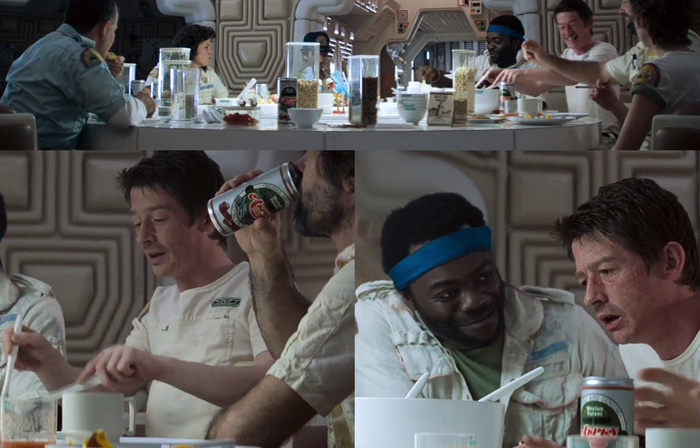 Crew members of the USCSS Nostromo drink Aspen Beer in the mess hall. This is shortly before Gilbert Kane has some stomach discomfort, but it's not the beer's fault.