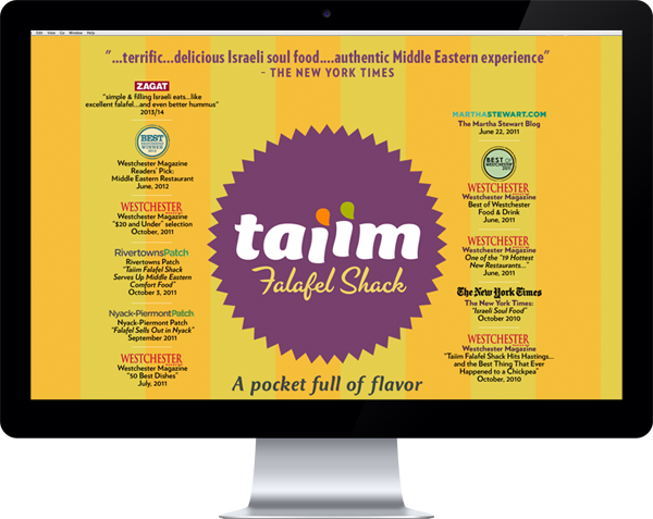 Taiim Falafel Shack logo and website 2