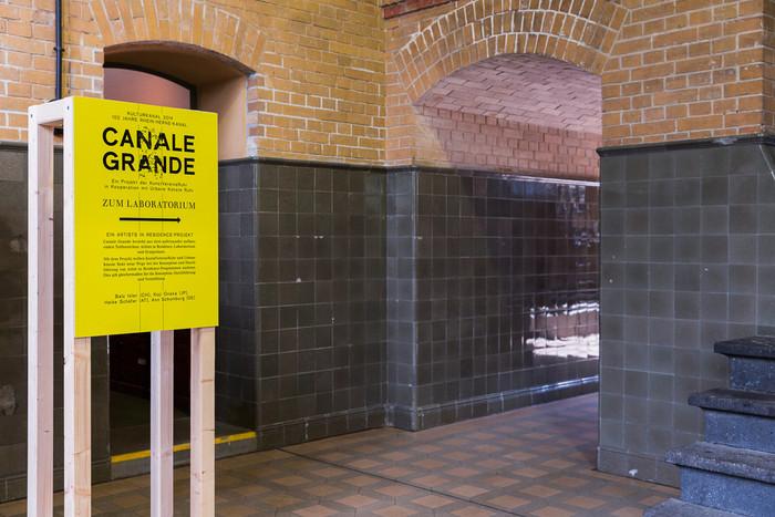 Signange at Schiffshebewerk Henrichenburg. Canale Grande exhibition design by Tilda Studio, Foto: Roland Baege