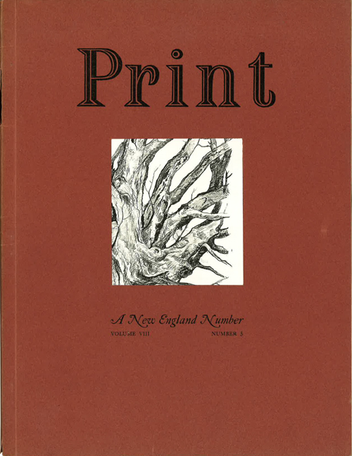 Print IV:3 (1946), featuring a chromatic rendering of Chisel paired with Gill Sans. Label by William G. Meek.