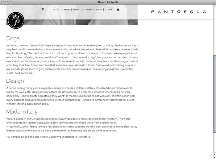 Pantofola website 4