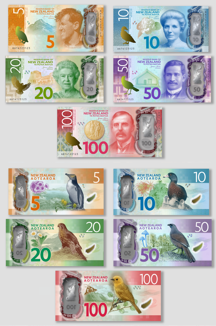 Preliminary designs as published by the Reserve Bank of New Zealand in Bulletin, Vol. 77, No. 7, Dec. 2014.