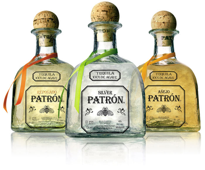 Patrón logo and bottles 1