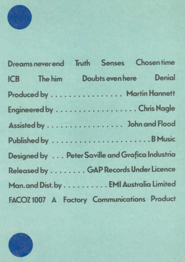 Back cover from EMI Australia release.
