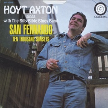 "Hoyt Axton – ""San Fernando"" / ""Ten Thousand Sunsets"" single cover"