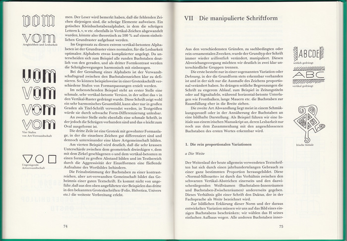 "Sample spread from the interior (vol. 2, chapter VII ""The manipulated letterform"")"