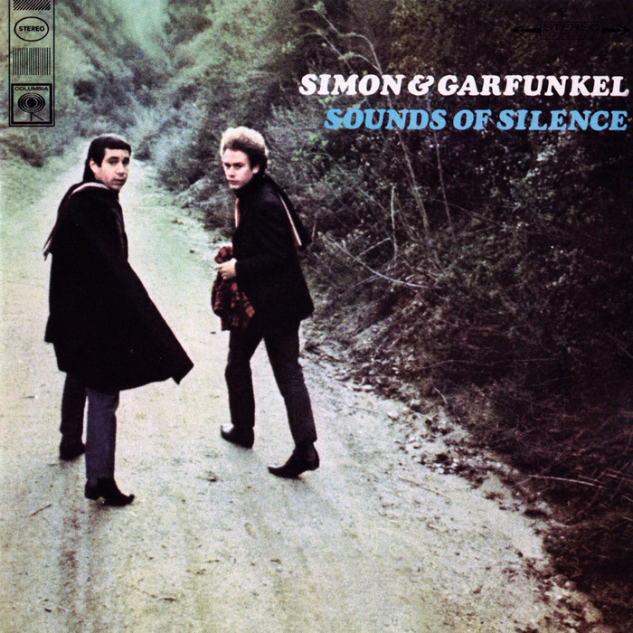 """""""First US stereo release. Simon & Garfunkel in white lettering. Sounds of Silence in blue on one line underneath. No song listing. Later stereo issues had the songs listed on the cover."""" — Discogs"""