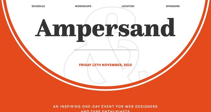 Homepage for Ampersand 2015 conference uses bold typesetting with animation to create deeper emphasis.