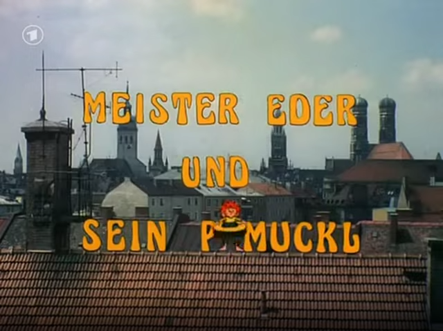 In the very first episode and unlike in this version, Pumuckl is still invisible. The opening titles show the animated letters only, without the kobold.