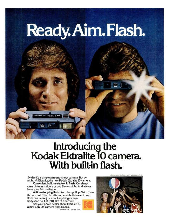 """Ready.Aim.Flash. Introducing the Kodak Ektralite 10 camera. With built-in flash."" — Ebony magazine, October 1978."