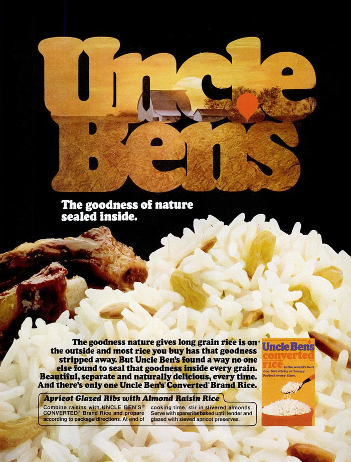 """Uncle Ben's rice ad: """"The goodness of nature sealed inside."""""""