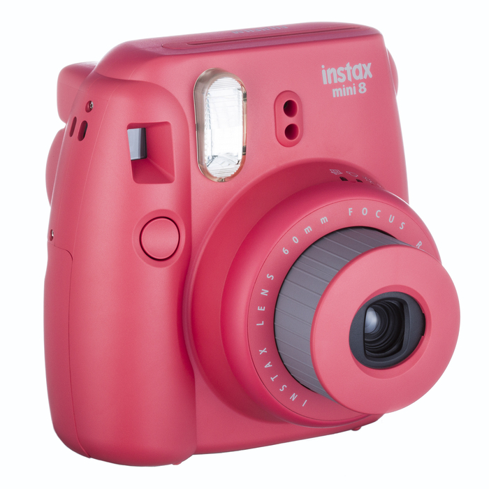 "The Instax Mini 8 is the current entry-level model and comes in various bright colors. In the newer models, ""mini"" and other suffixes are no longer rendered in Keedy Sans."