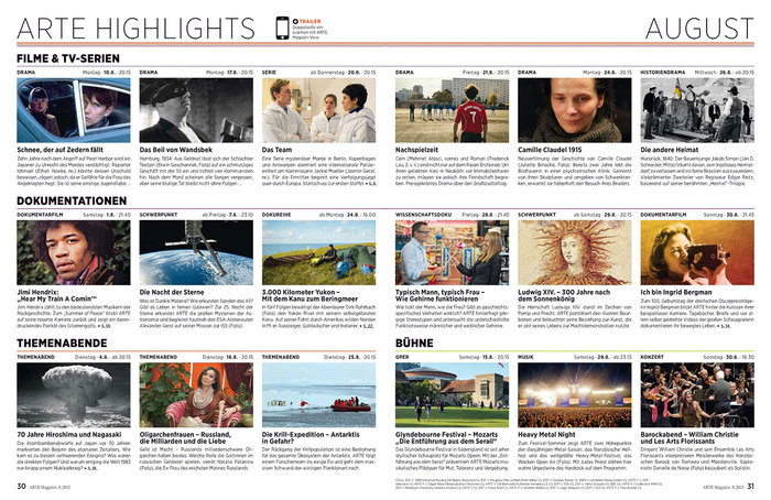 Highlights in the TV guide section of issue 8, 2015