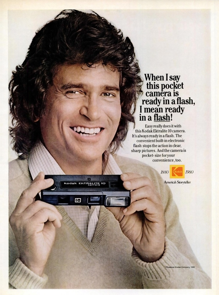 """When I say this pocket camera is ready in a flash, I mean ready in a flash!"" — Ebony magazine, May 1980."