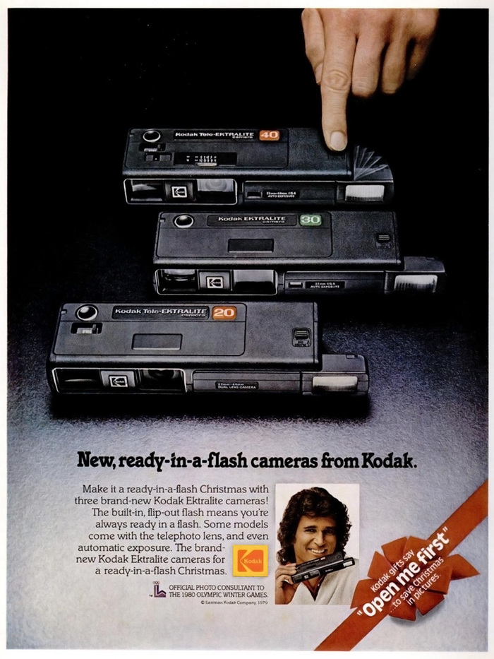 """New, ready-in-a-flash cameras from Kodak."" — Ebony magazine, November 1979"