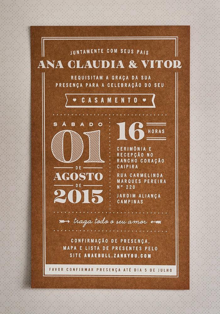 Ana Claudia & Vitor wedding invitation 1