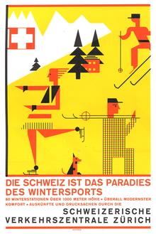 """""""Die Schweiz ist das Paradies des Wintersports"""" travel poster, Schweizerische Verkehrszentrale Zürich"""
