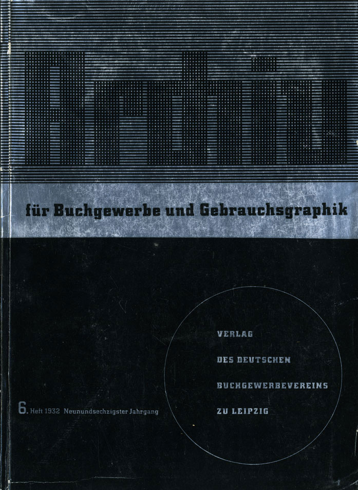 No. 6. Cover design by Karl Eckhardt, Berlin. Stefan Berndt pointed out some similarities to the specimen cover for City, which also features type in a circle in the bottom right quarter.