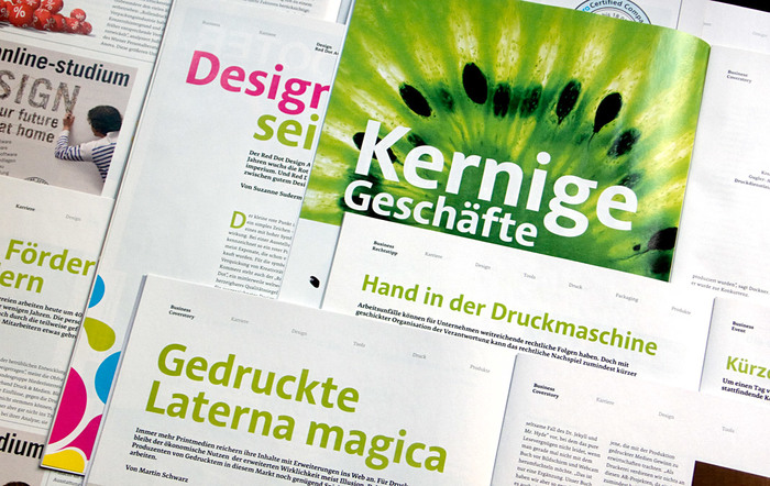 Various double page spreads of 4c using Acorde as headline typeface.