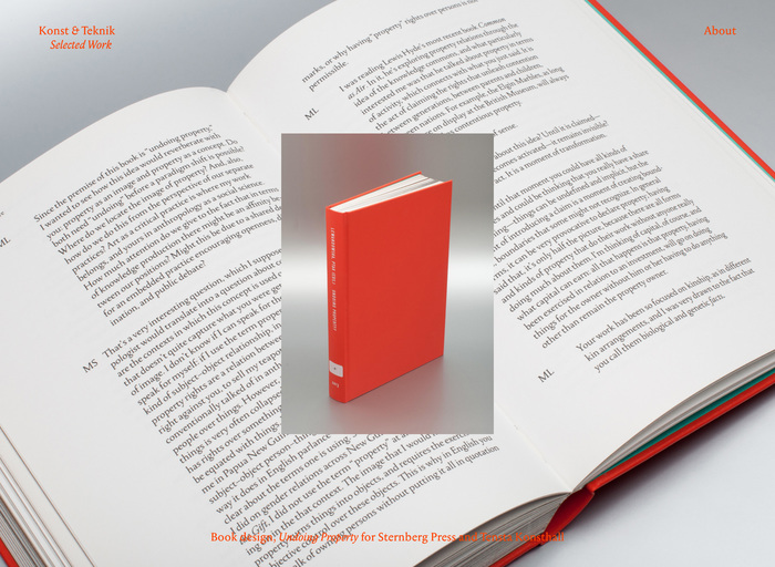 Nice way to show a book, inside and out. The red caption is a little rough to decipher, though.