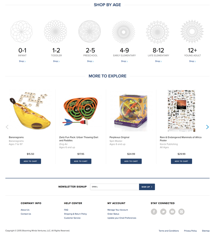 Blooming Minds website. Proxima Nova used throughout.