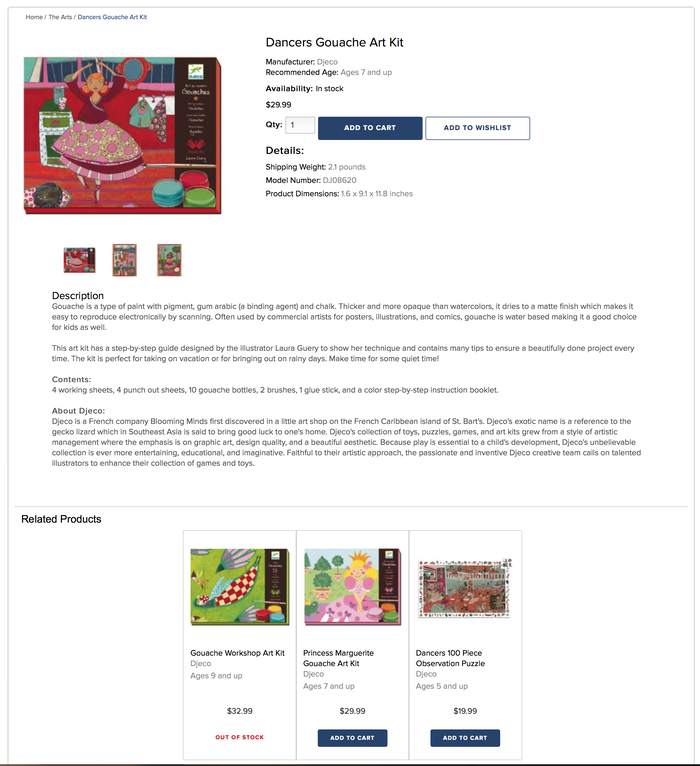 Blooming Minds website, product listing page. Proxima Nova used throughout.