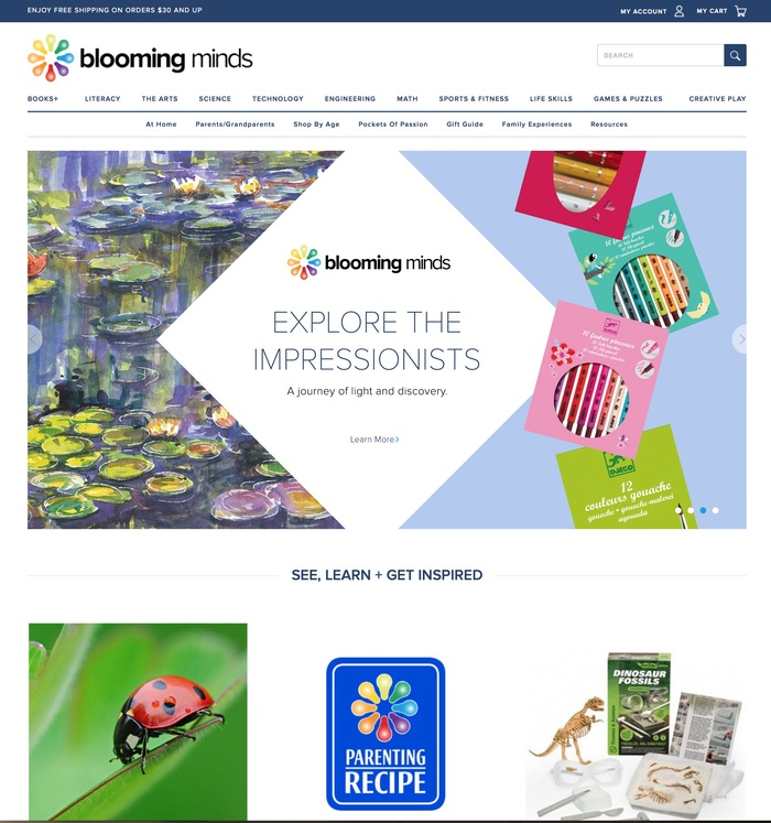 Blooming Minds homepage. Proxima Nova used throughout.