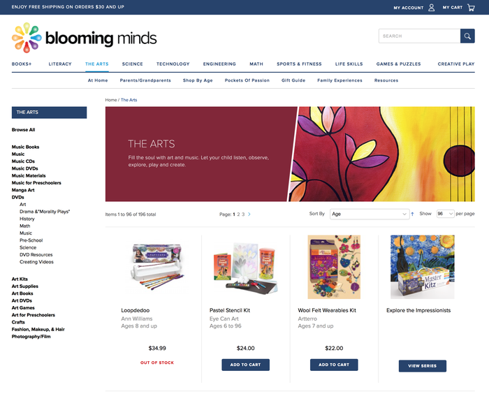 Blooming Minds website product listing page sample - Proxima Nova used througout