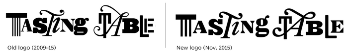 Logotypes made with multiple individual letter styles are difficult. It can be a nice way to demonstrate variety and dynamism, but it's not easy to combine these elements into an instantly recognizable brand rather than a crowded jumble. The new Tasting Table logo is a well-advised refinement that cleans up the spacing, opens counters, and strengthens strokes, improving the mark's performance at small sizes and on various backgrounds. These letters may come from fonts, but I'll bet a skilled lettering artist or type designer was involved with the enhancement.