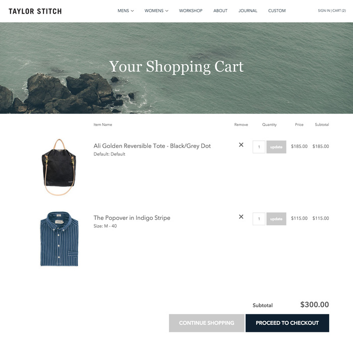 Airy is the current trend in web design, but this is the roomiest cart I've ever seen. It's certainly calming. Maybe it calms customers into calmly pushing the checkout button.