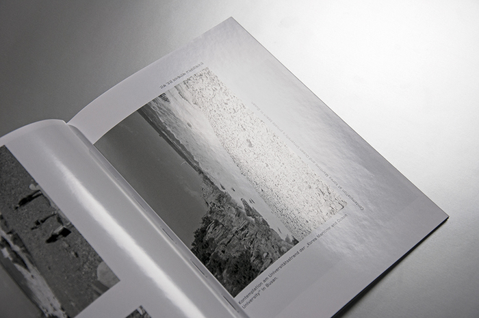 Close-up of duotone images in pantone black C and 8001 C in part 2 of the book