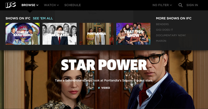 Homepage and Browse menu.