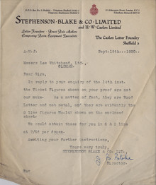 Stephenson Blake & Co Ltd letterhead, 1950