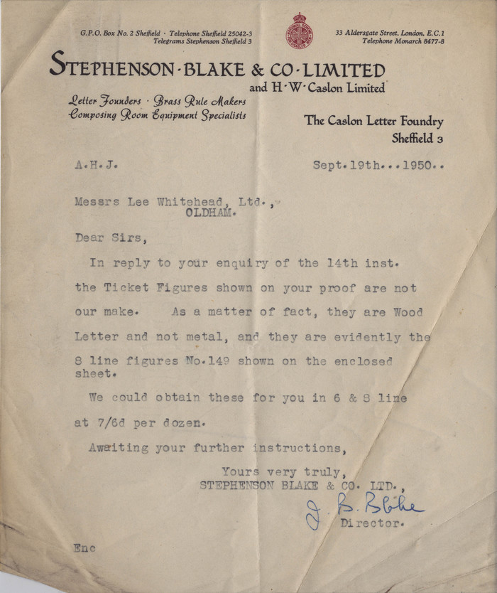 Stephenson Blake & Co Ltd letterhead, 1950 1