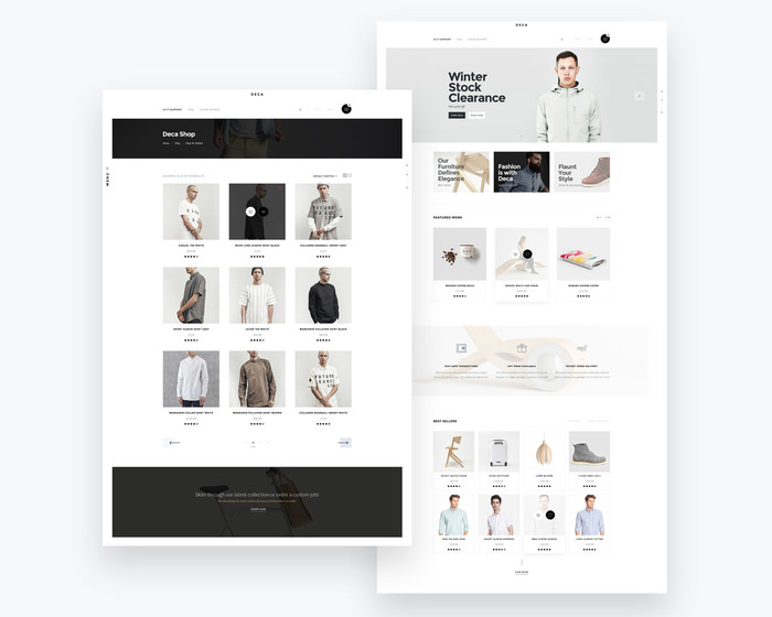 Shop Page with categories and E-commerce page.