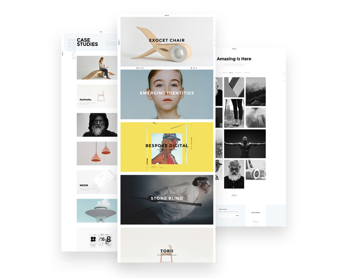 Case Studies and Portfolio Page with multiple grid options.