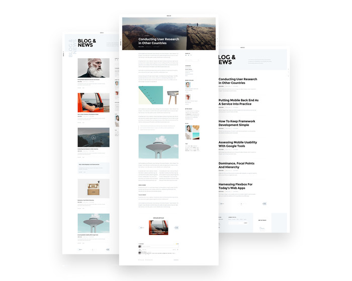 Blog including Classic, Minimal and Single Post pages.