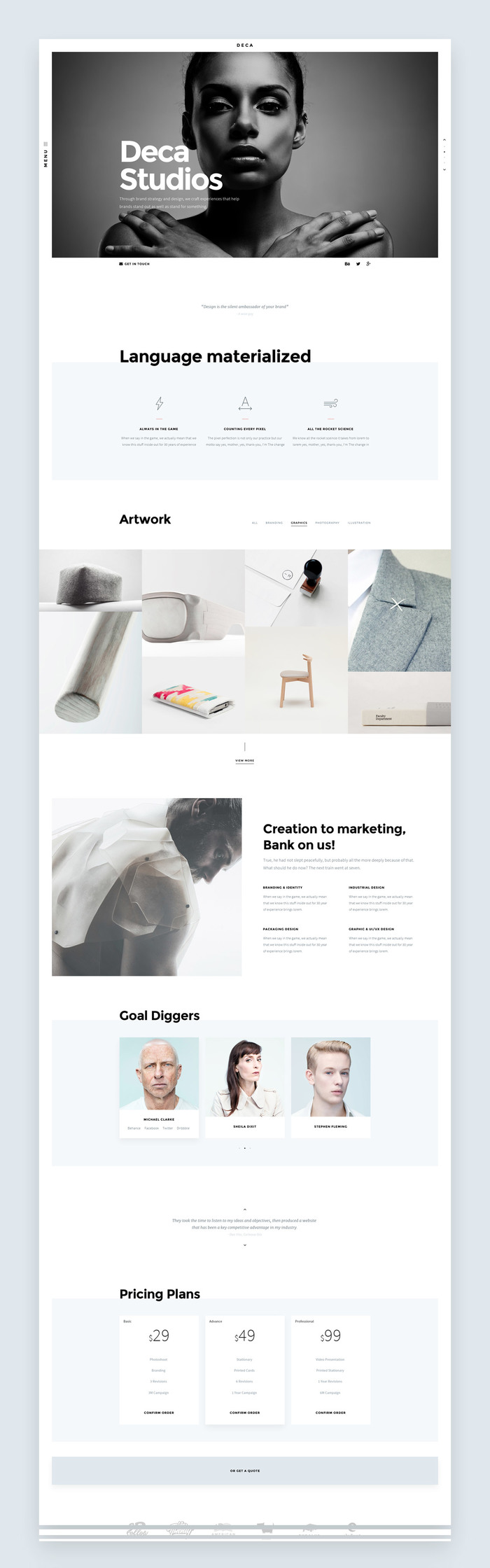 One of the 10+ Homepages. Minimal vibe with limited design.