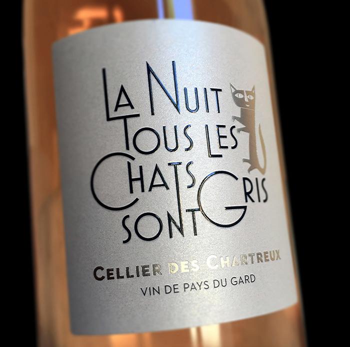 """""""La Nuit Tous Les Chats Sont Gris"""" wine label 1"""