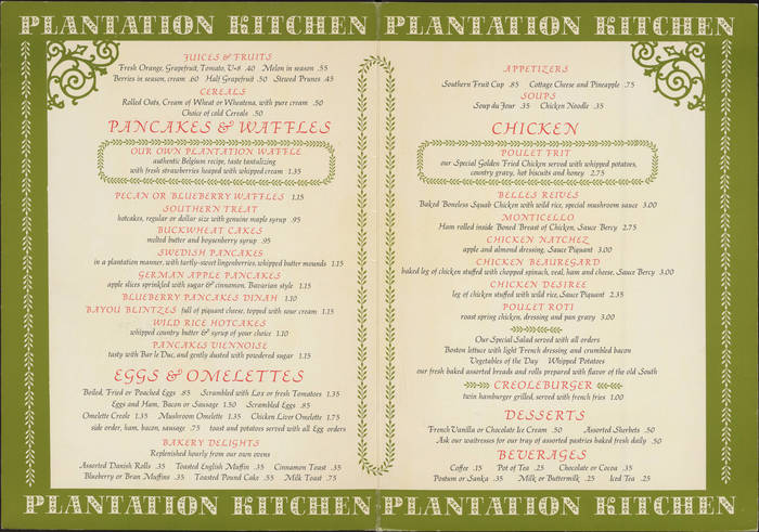 Menu for Plantation Kitchen at Stardust Hotel 2