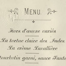 Menu for Eton Dinner at The Monico, Oct. 28, 1898