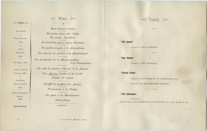 Menu for Eton Dinner at The Monico, Oct. 28, 1898 2
