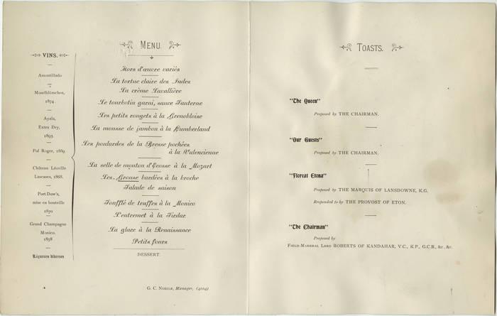Menu for Eton Dinner at The Monico, Oct. 28, 1898 2