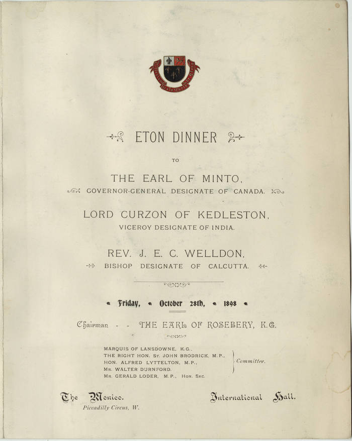 Menu for Eton Dinner at The Monico, Oct. 28, 1898 1