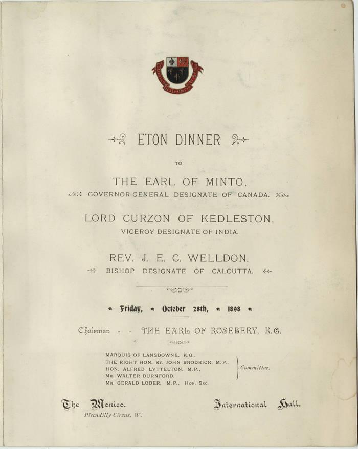 Menu for Eton Dinner at The Monico, Oct. 28, 1898 1