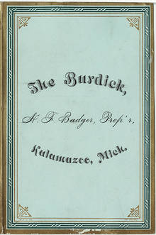 The Burdick menu, November 27, 1881