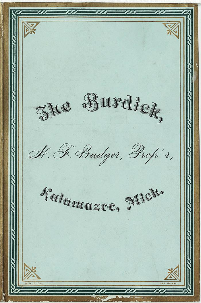 The Burdick menu, November 27, 1881 1