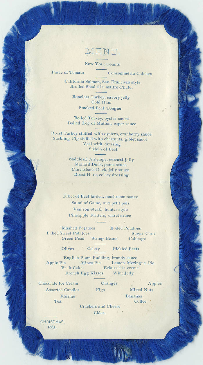 Continental Hotel menu, Christmas 1883 2